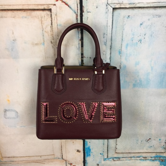 6f067657a5f4ac Michael Kors Adele Merlot LOVE purse *P3. Listing Price: $100.00. Your Offer